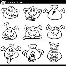 Emoticon Cane Dei Cartoni Animati Da Colorare Stock Vector
