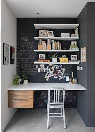 small home office solutions. Home Office In A Corner Of Room Featuring Chalkboard Walls And Open Shelving Small Solutions L