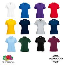 Details About Fruit Of The Loom Womens Plain Lady Fit Polo