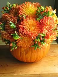 ... easy pumpkin centerpieces orange-dahlias-berry-branches