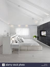 Bed With Tv Built In White Attic Bedroom With Double Bed And Built In Tv In Modern