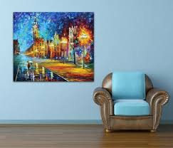 office color palette. Blue Midnight-100% Handpainted Canvas Painting Night Street Lighting House Color Palette Picture For Office