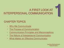 chapter  a first look at interpersonal communication chapter topics