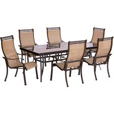 Aluminum Outdoor Dining Table Hanover 9 Piece Outdoor Dining Set With Rectangular Glass Table