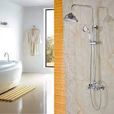 rozin dual knobs mixer 8 inch rainfall shower set with handheld spray chrome finish com