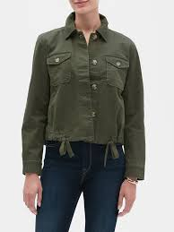 tie cropped utility jacket