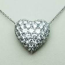 necklaces platinum diamond heart necklace image 2