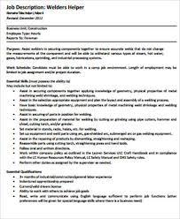 Welder Helper Job Description Sample Welder Job Description 9 Examples In Word Pdf