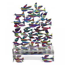 david gerstein steel colorful birds in flight double sided hanukkah menorah sculpture
