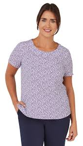 Short Sleeve Ava Berry blouse with neck tuck detail | Women's Work Print  Blouses & Shell Tops | Vortex Designs Limited