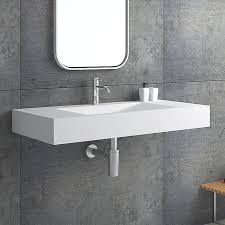 matte white wall mount floating sink