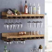 wine glass rack shelf. Fine Glass Bernardo Rustic Luxe Tiered Wall Mounted Wine Glass Rack Set Of 2 With Shelf S