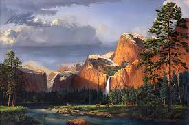 deer meadow mountains western stream deer waterfall landscape oil painting stormy sky snow scene by walt curlee