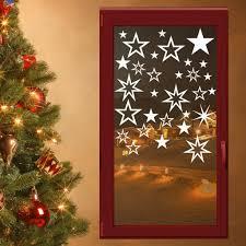 30 Sterne Fensterdeko Weihnachten Wandtattoo Fensterbilder Fenster Aufkleber Farbeweiß
