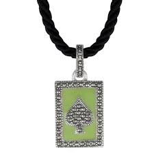 Aura <b>925 Sterling Silver</b> Enamel & Marcasite Pendant with Necklace ...