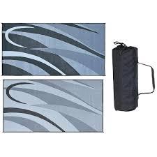 reversible rv graphic design patio mat 8 x 20 black silver