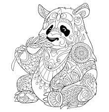 Panda Mangeant Une Pousse De Bambou Pandas Coloriages Difficiles