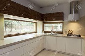 Modern Kitchen Interior Long Beige Counter Top In Modern Kitchen Interior Stock Photo