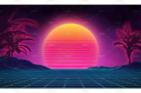 Retro background futuristic landscape ...