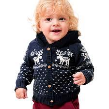 0 2yautumn winter baby girl coats boys hooded knitted sweater coat cartoon baby red coat