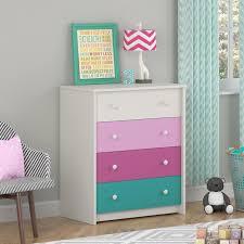 Raspberry Bedroom Kids Girls Bedroom 4 Drawer Dresser In White Pink Raspberry