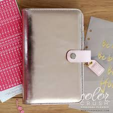 Websters Pages Color Crush Personal Binder Platinum Rose Cocoa