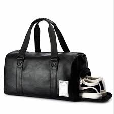 black gym bag men leather duffle bag women independent shoe house sport cross pu travel bags hand luggage for gym
