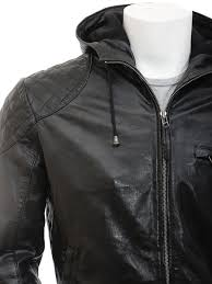 men s black hooded leather jacket aller side