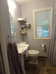 small bathroom remodeling ideas. Finished Small Bathroom Remodeling Pic Pedestal Sink And Floating Glass Shelves Ideas B
