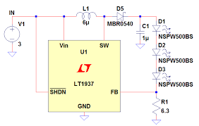 led driver circuit explained and available solutions in this circuit the input voltage is 3 while the total led voltage is 9 64v based on simulation