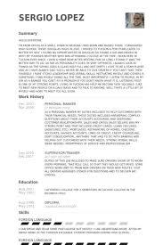 personal banking resume