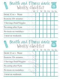 Free Printable: Health and Fitness Goal Checklist   Occasionally ...