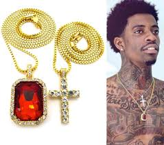 mens iced out hip hop gold micro cross red ruby square pendant chain necklace