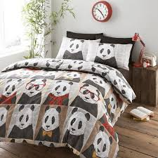 hugh panda with gl quirky design reversible bed set bedding duvet cover