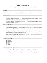 New Resume Format For Mba Student By Chetan Vibhandik