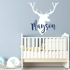 boy name wall decals personalized deer antlers name wall decal rustic  nursery zoom wall decals .