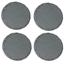 set of 4 round shaped natural slate table rustic mug coffee drinks mats coasters for