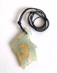 details about clearance light green agate pendant slices painted gold om symbol uk