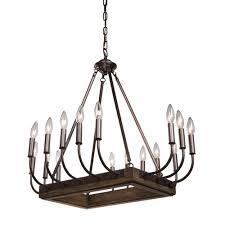 artcraft aberdeen brunito bronze and light wood 22 inch sixteen light chandelier