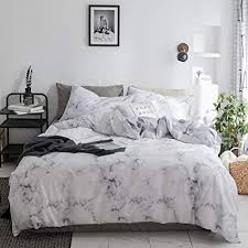 Duvet Cover Set White Marble 3 Piece Bed Set 100% Cotton with Zipper Closure Organic Modern Comforter Set Full/Queen