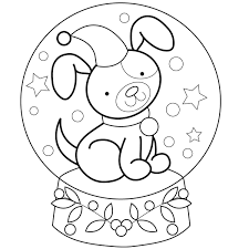 Printable Snow Globe Coloring Page Sketch