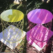 colour your world this 20 wire side table was painted pink in common kmart
