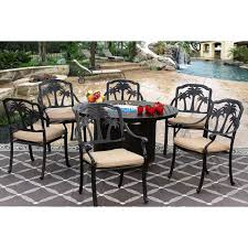 palm tree cast aluminum outdoor patio 7pc set 50 inch round fire table series 4000 with