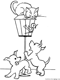 cat and dog realistic coloring pages