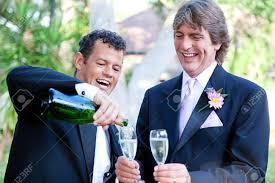Couple Gay Du Champagne Pour Porter Un Toast Leur Mariage Le