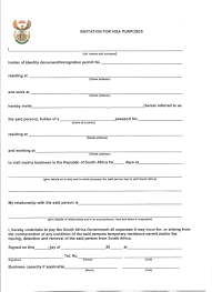 Invitation Letter Sample For South African Visa