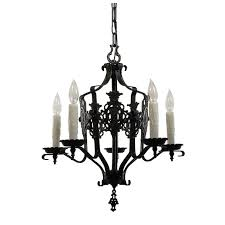 antique iron spanish revival five light chandelier with shields c 1920s