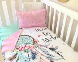 Crib quilt | Etsy & Baby Cot / Crib Quilt Blanket Dreamcatcher Baby Girl Full Set, sheet, quilt  Pink Adamdwight.com