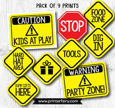 Printable Construction Signs Construction Birthday Signs Construction Birthday