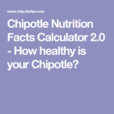 Chipotle Nutrition Chart Chipotle Nutrition Facts Calculator 2 0 How Healthy Is